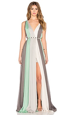 Halston Heritage Deep V Multi Stripe Gown in Meadow & Multi