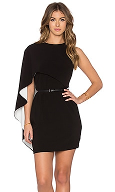 Asymmetrical Sleeve Mini Dress in Black & Eggshell