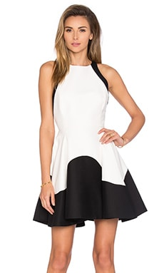 Halston Heritage High Neck Dress in Eggshell & Black