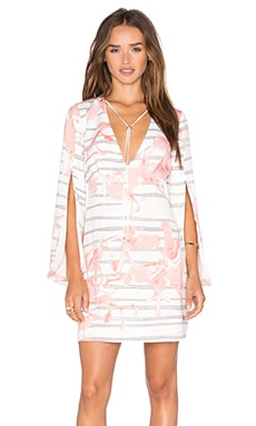 Halston Heritage Slit Sleeve Dress in Lotus Orchid Stripe Print