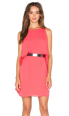 Halston Heritage Cape Sleeve Dress in Coral