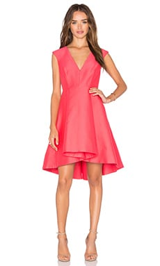 Halston Heritage High Low Dress in Coral