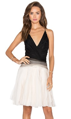 Halston Heritage Ombre Pleated Dress in Oyster & Black