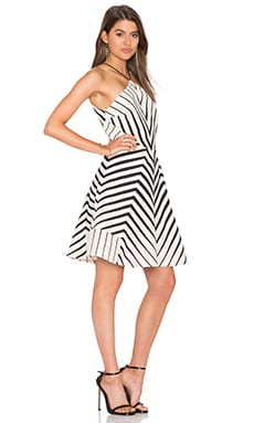 Halston Heritage Stripe Halter Dress in Oyster & Black Cascading Stripe Print