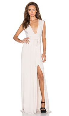 Halston Heritage Wrap Tie Dress in Oyster
