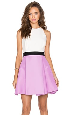 Halston Heritage Colorblock Dress in Tulip & Eggshell