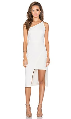 Halston Heritage One Shoulder Dress in Eggshell
