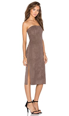 Halston Heritage Strapless Suede Dress in Tobacco