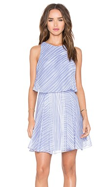 Flounce Dress in Iris Engineered Stripe Print