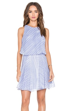 Halston Heritage Flounce Dress in Iris Engineered Stripe Print