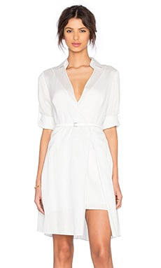 Halston Heritage Shirt Dress in Linen White & Silver