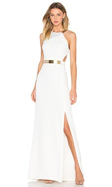 Halston Heritage Asymmetic Strap Dress in Eggshell