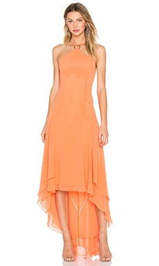 Halter High Low Dress in Mandarin