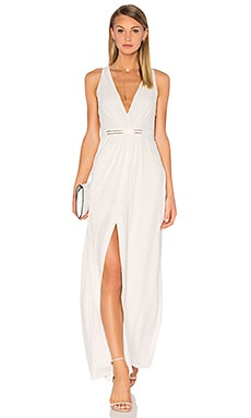 Halston Heritage V Neck Jesey Dress in Eggshell