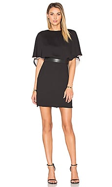 Halston Heritage Flowy Sleeve Colorblock Caftan Dress in Black & Buff
