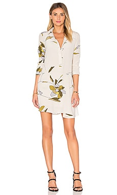 Halston Heritage Long Sleeve Shirt Dress in Parchment Flowing Petals Print