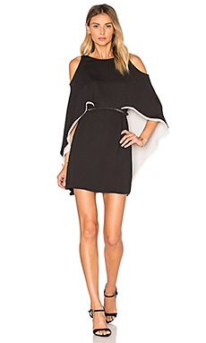 Cape Sleeve Flowy Dress in Black & Parchment