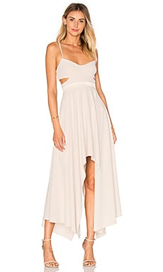 Halston Heritage Hi Low Asymmetric Dress in Oyster