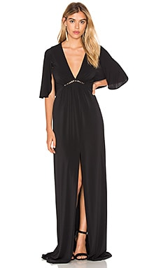Halston Heritage Flounce Sleeve Gown in Black