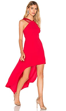 Halston Heritage Strappy Halter Hi Lo Dress in Carmine