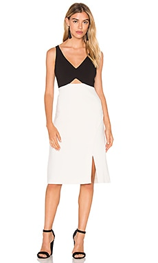 Halston Heritage V Neck Colorblock Sleeveless Dress in Parchment & Black