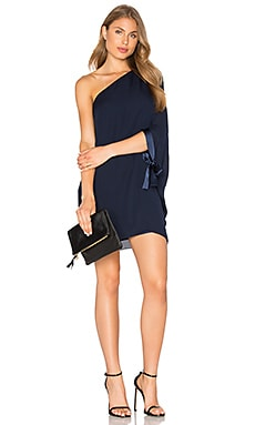 Asymmetrical Sleeve Mini Dress in Dark Navy