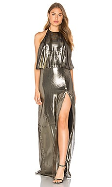 Halter Neck Metallic Gown en Antique Brass