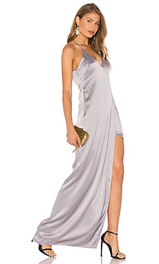 Halston Heritage V Neck Slip Dress in Grey