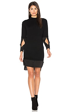 Mock Neck Sweater Dress in Black