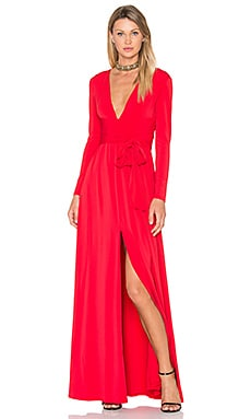 V Neck Wrap Tie Gown in Scarlet