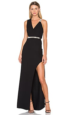 V Neck Multi Chain Gown in Black