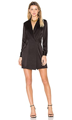 Satin Shirt Dress en Noir