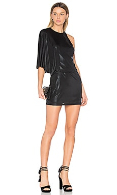 Asymmetrical Drape Dress em Preto