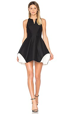 Notch Neck Dress em Preto & Giz