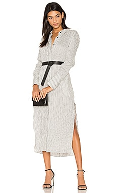 Pinstripe Maxi Shirt Dress in Chalk & Grey