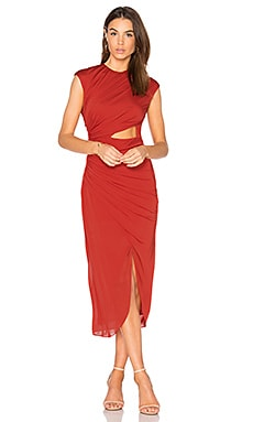 Ruched Hi Low Dress in Chili