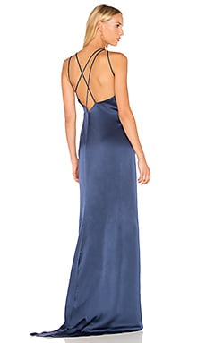 High Neck Gown With Back Drape