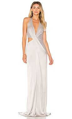 Deep V Neck Draped Gown