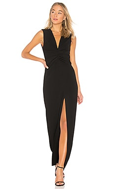 V Neck Ruched Front Gown
