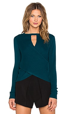 Halston Heritage Long Sleeve Cross Back Sweater in Spruce