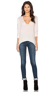 Halston Heritage V Neck High Low Sweater in Parchment