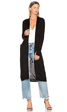 Open Front Duster Cardigan in Black