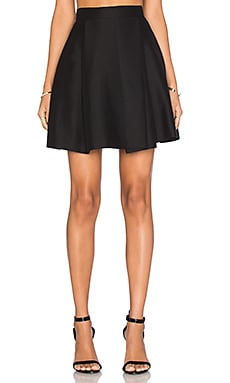 Halston Heritage High Waist Structure Skirt in Black