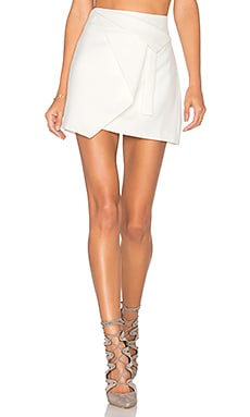 Halston Heritage Asymmetrical Wrap Skirt in Chalk
