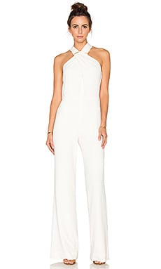 Halston Heritage Cross Neck Sleeveless Jumpsuit in Bone