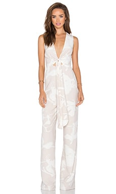 Halston Heritage Front Tie Jumpsuit in Oyster Orchid Print