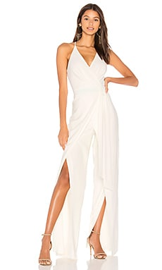 V Neck Faux Wrap Jumpsuit