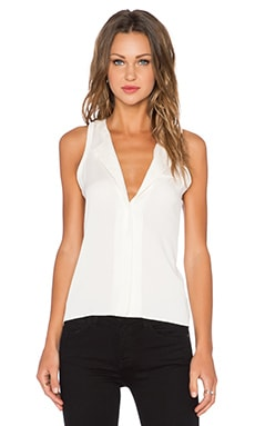Halston Heritage Back Insert Tank Top in Bone