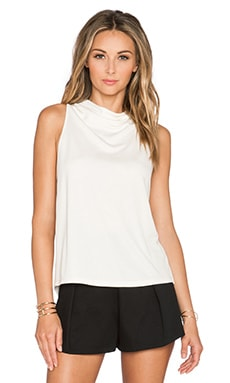 Halston Heritage Back Drape Mockneck Top in Bone