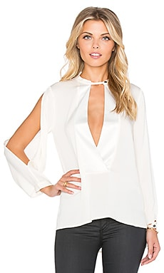 Halston Heritage Mandarin Collar Blouse in Bone